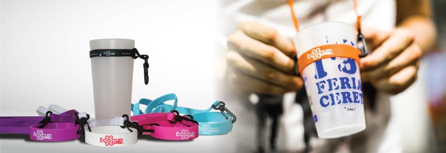 Ecocup Gobelets Plastics Réutilisables Personnalisés Ecocupeu - Porte gobelet tour de cou